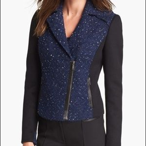 Elie Tahari Blue Mixed Media Moto Jacket